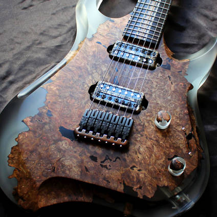 Poisonwood and Resin Electric Guitar with GlassCast 50 Clear Epoxy